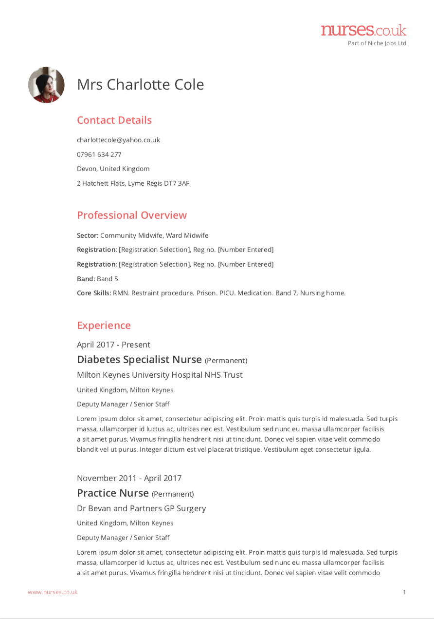 Build your nurse cv step by step guide example of a nursing cv altavistaventures Choice Image