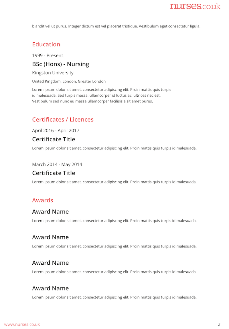 build your nurse cv